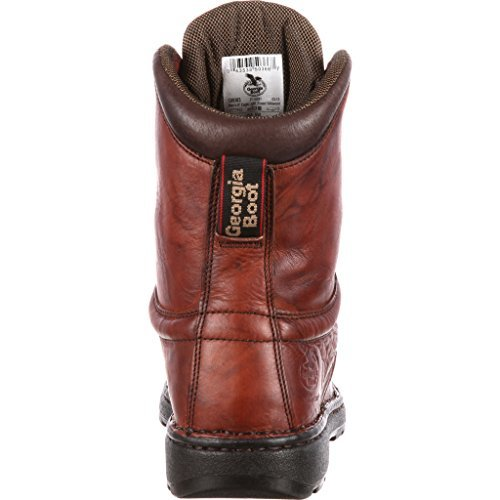 74c5fbad839077 Georgia Men's Eagle Light Leather Lace Up Round Toe Work Boots G8083 8.5M  Brown